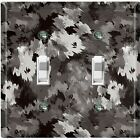 Metal Light Switch Cover Wall Plate Artistic Camouflage Gray Pattern