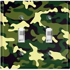 Metal Light Switch Cover Wall Plate Camouflage Green Pattern