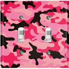 Metal Light Switch Cover Wall Plate Camouflage Pink Black Pattern