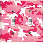 Metal Light Switch Cover Wall Plate Camouflage Pink White Pattern