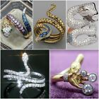 Fashion Snake 18k Yellow Gold Plated Rings For Men/women Blue Sapphire Size 5-10
