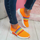 WOMENS LADIES SLIP ON RAINBOW SNEAKERS KNIT TRAINERS HEEL WOMEN PARTY SHOES SIZE