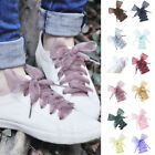 110cm 13 Colors Flat Silk Shoelaces Ribbon Satin Trainers Shoe Laces Sport Shoes