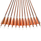 """30"""" Feather Carbon Arrows SP400 Wooden Skin Shaft Archery Bow Target Shooting"""