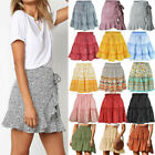 Womens Boho Floral High Waist Ruffle Skirts Summer Casual Short Swing Mini Dress