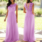 US Women's Lace Sleeveless Long Maxi Dress Wedding Bridesmaid Gown Evening Party