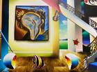 Ferjo 'Surreal Time' Original Oil on Canvas Stretched 12x20 Surrealism