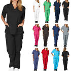 Kyпить 2pc Men Women Doctor Medical Scrub Top Long Pants Hospital Nursing Uniform Suits на еВаy.соm