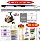 1set Spinning Reel + New Fishing Equipped Fishing Rod Fishing Tackle Combo Full