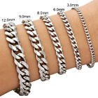 "Mens Boys Curb Chain Link Silver Gold Tone 316l Stainless Steel Bracelet 7""-9"""