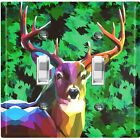 Metal Light Switch Cover Wall Plate Deer Hunt Green Artistic Camouflage CMO007