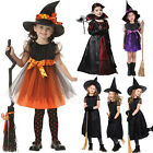 Kids Girls Halloween Party Fancy Dress Witch Vampire Hat Outfit Cosplay Costume