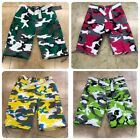 Men's Cargo Shorts Camo With Belt Stain Release Finish 6 Multi Function Pockets