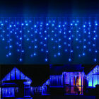 US Blue 10~100FT 96-960 LED Icicle Curtain Outdoor Indoor Xmas String Light Lamp
