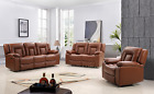 New Real Genuine Leather Recliner Modern Sofa Set Black Brown 3 + 2 + 1 Seater