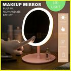 Rechargeable Led Light Cosmetic Makeup Mirror Usb Touch Screen Home Desk Vanity