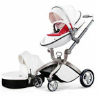 Hot mom Baby stroller 3 in 1 leather Carriage Foldable Pram pushchair bassinet