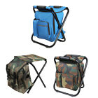Foldable Fishing Chair Stool Backpack Hiking Camping Chair with Storage Cool Bag