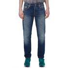 Nudie Hombre Regular Tapered Fit Bio Denim Vaqueros - Steady Eddie Viejo Mar