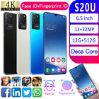 """S20u 6.5"""" Quad Core Mobile Cell Phone Dual Sim Gps Android10.0 Smartphone Uk"""