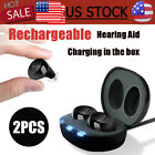 2 Rechargeable Digital ITE Hearing Aid Severe Loss Invisible Ear High-Power Gift