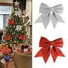 2Pcs+CHRISTMAS+TREE+BOWS+Glitter+Bow+Decoration+Bauble+Party+Garden+Ornaments+UK