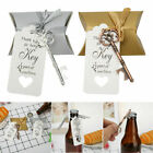 20pcs Wedding Party Vintage Key Bottle Opener Candy Bag Gift Tags Ribbon Pendent