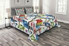 Lunarable Parrots Bedspread, Colorful Parrots on Tree Branches Exotic Jungle The