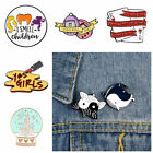 Lipstick Crystal Ball Lapel Pins Enamel Brooches Shirt Badge Clothes Backpack
