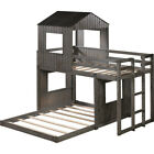 Wooden Twin Over Full Bunk Bed,Loft Bed with Playhouse,Ladder and Guardrails USA