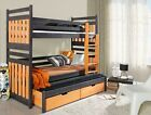 Children Bunk Bed Wood Triple Bed Assembly Trundle Bed NEW FAST Delivery