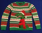 SANTA HAT DINOSAUR REX UGLY CHRISTMAS SWEATER EMBROIDERED YOUTH BOYS SZ S, L, XL