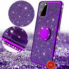 Glitter Diamond Ring Stand Slim Bumper Shockproof Case For Samsung S21 Note20
