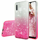 For Samsung Galaxy A20/A30/A50 Glitter TPU Gradient Bling Case +Tempered Glass