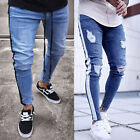 Men Ripped Skinny Jeans Stretch Frayed Biker Slim Fit Denim Pants Casual Trouser