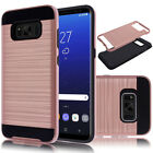Rugged Metal Brushed Armor Hybrid Dual Layer Protective Cover Case For Samsung