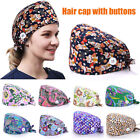 Surgical Scrub Hats Doctor Nurse Bouffant Hat Adjustable Head Cover with Button