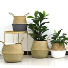 Seagrass Belly Basket Large Woven Laundry Basket Home Storage Bins Flower Pot US