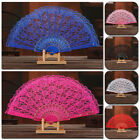 Lace Silk Hand Fans Floral Print Dance Wedding Party Folding Hand Held Fan Gift