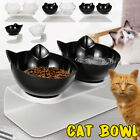 Cat Double Bowls with Raised Stand Pet Food Water Bowl Dog Feeder Non-slip Black