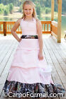 NEW Pink and Mossy Oak Camo Flowergirl Dress With Small Train, Girls Size 10