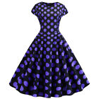 Women Retro 50s Rockabilly Pinup Dress Lady Cocktail Party Swing Flared Dresses