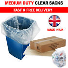 140G Large Clear Plastic Bin Liners Strong Eco 90L Refuse Sacks Recycling Bags