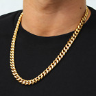 Mens Miami Cuban Link Chain 18k Gold Plated Stainless Steel Necklace 11mm