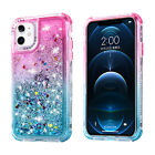 For iPhone 12 Pro Max 11 XS Max XR 8 7+ Bling Case Glitter Liquid Rubber Cover