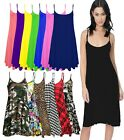New Women's Ladies Camisole Flared Skater Strappy Vest Top Swing Dress UK 8-26
