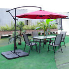Garden Outdoor Furniture Sets 6 Seater Glass Table And Chairs Patio Parasol Hole