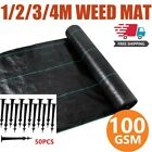 Free Pegs Weed Membrane Heavy Duty Weed Control Fabric Ground Cover Sheet 100GSM