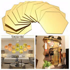 1/12pcs 3d Hexagon Mirror Stickers Removable Wall Sticker Diy Home Decoration