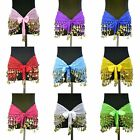 Belly Dance Silk Dense Coin Count Wrap Hip Scarf Belt